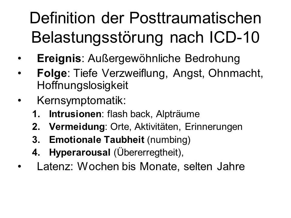Definition der Posttraumatischen Belastungsstörung nach ICD-10
