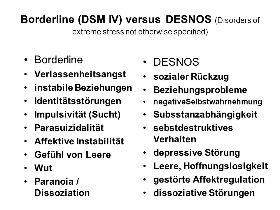 Borderline (DSM IV) versus DESNOS (Disorders of extreme stress not otherwise specified)