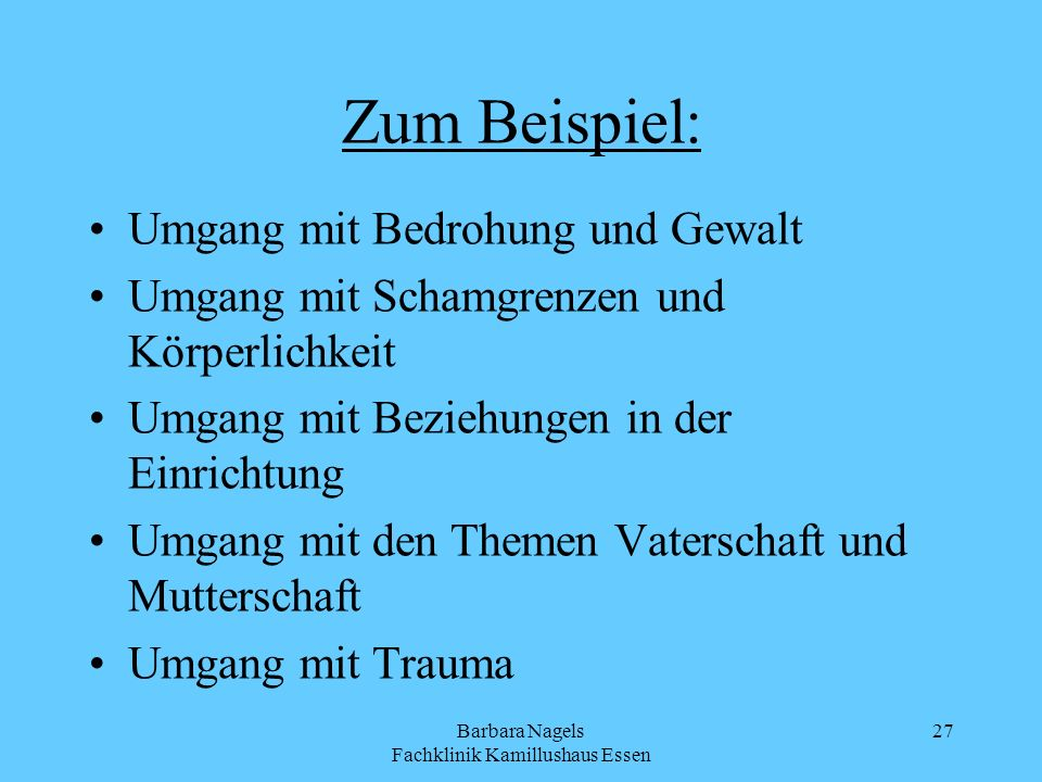 Barbara Nagels Fachklinik Kamillushaus Essen