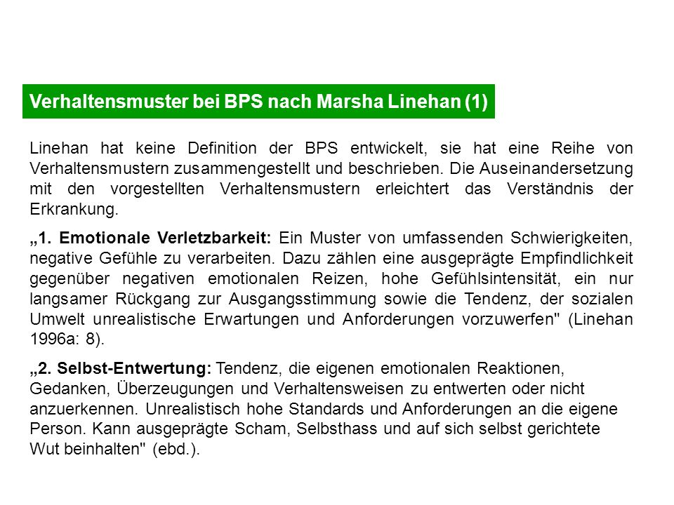 Verhaltensmuster bei BPS nach Marsha Linehan (1)