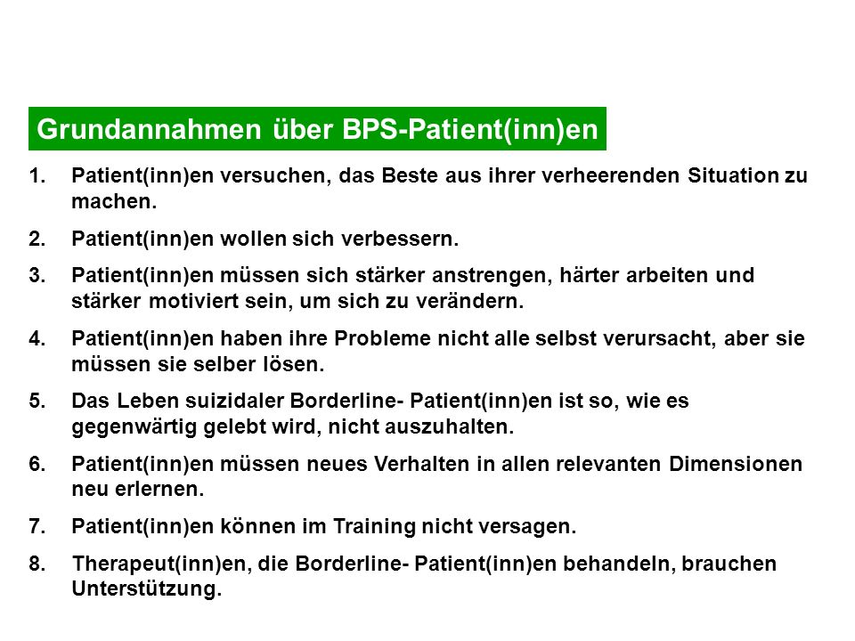Grundannahmen über BPS-Patient(inn)en