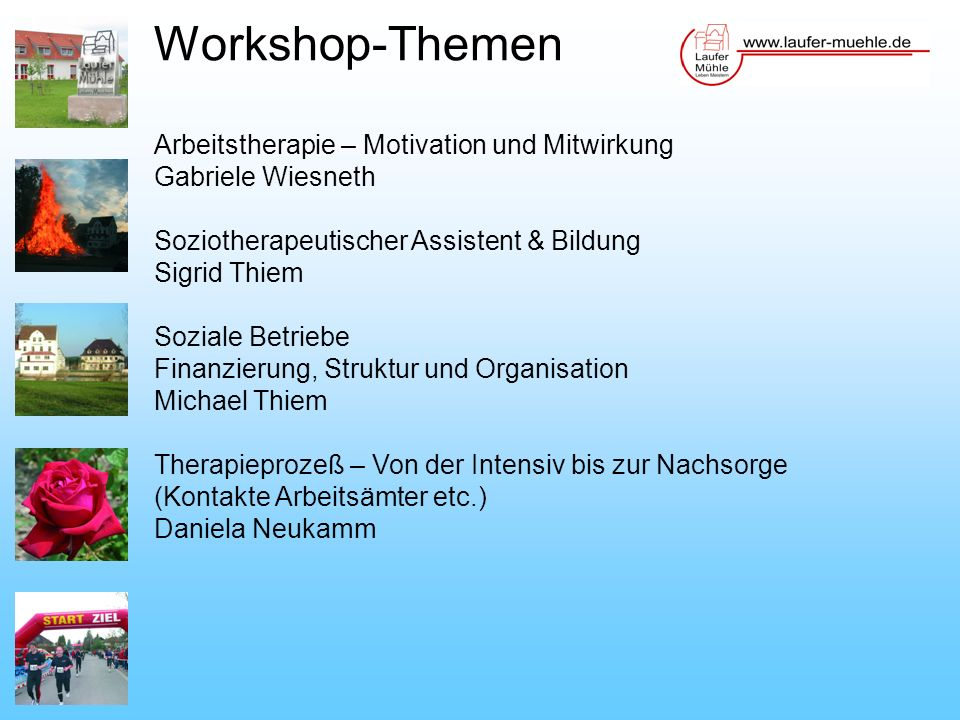 Workshop-Themen Arbeitstherapie – Motivation und Mitwirkung