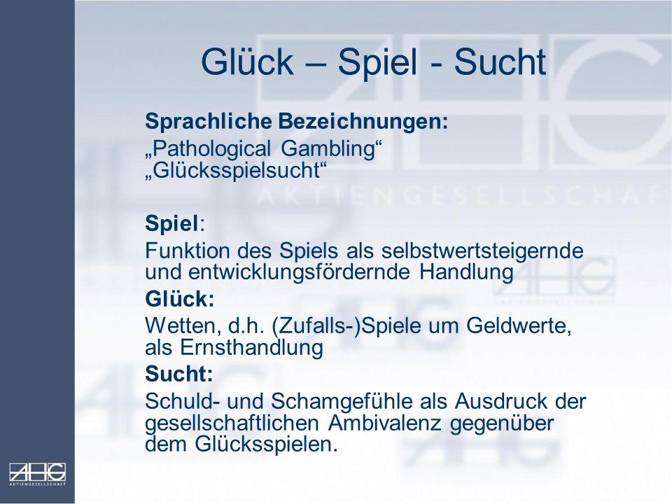 Glück – Spiel - Sucht Sprachliche Bezeichnungen: