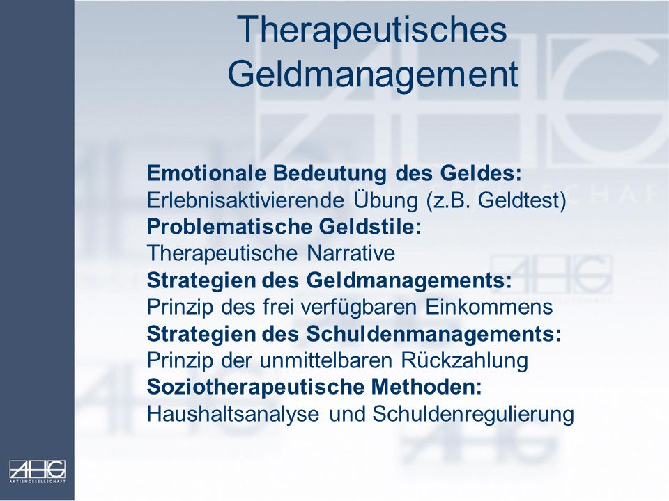 Therapeutisches Geldmanagement