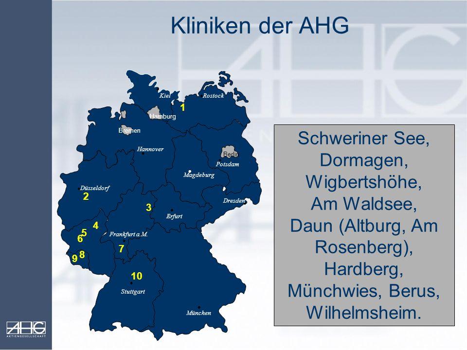Kliniken der AHG 9. 6. Berlin. Hamburg. Bremen. München. Stuttgart. Frankfurt a.M. Düsseldorf.