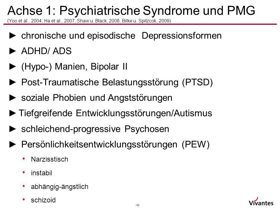 Achse 1: Psychiatrische Syndrome und PMG (Yoo et al. , 2004; Ha et al
