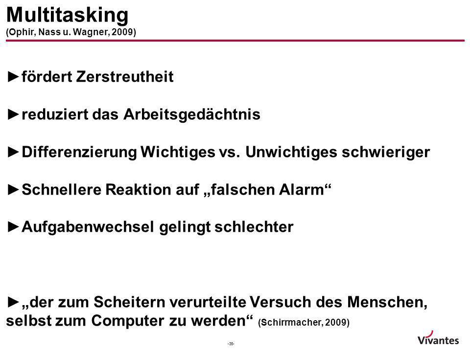 Multitasking (Ophir, Nass u. Wagner, 2009)