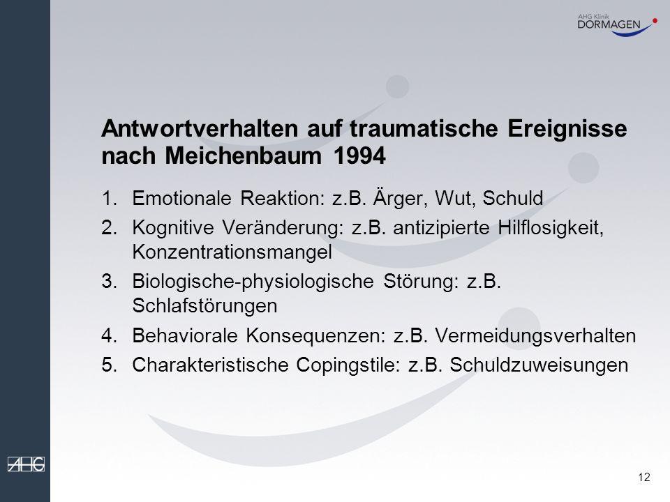 Antwortverhalten auf traumatische Ereignisse nach Meichenbaum 1994
