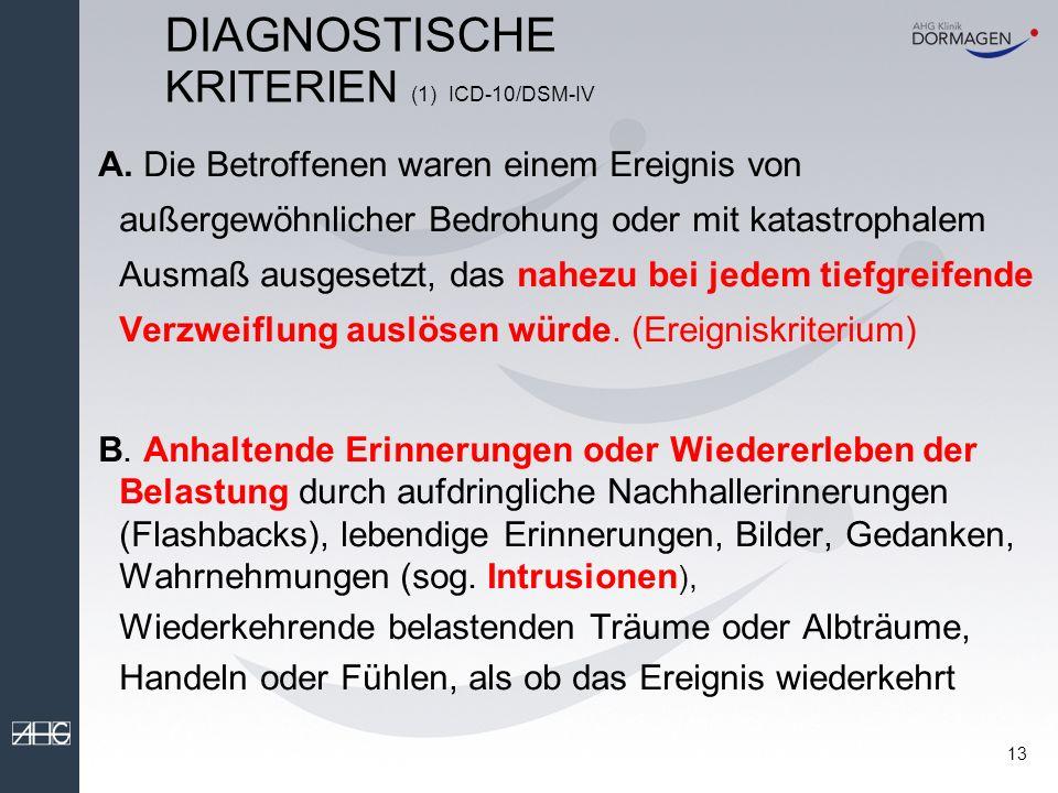 DIAGNOSTISCHE KRITERIEN (1) ICD-10/DSM-IV