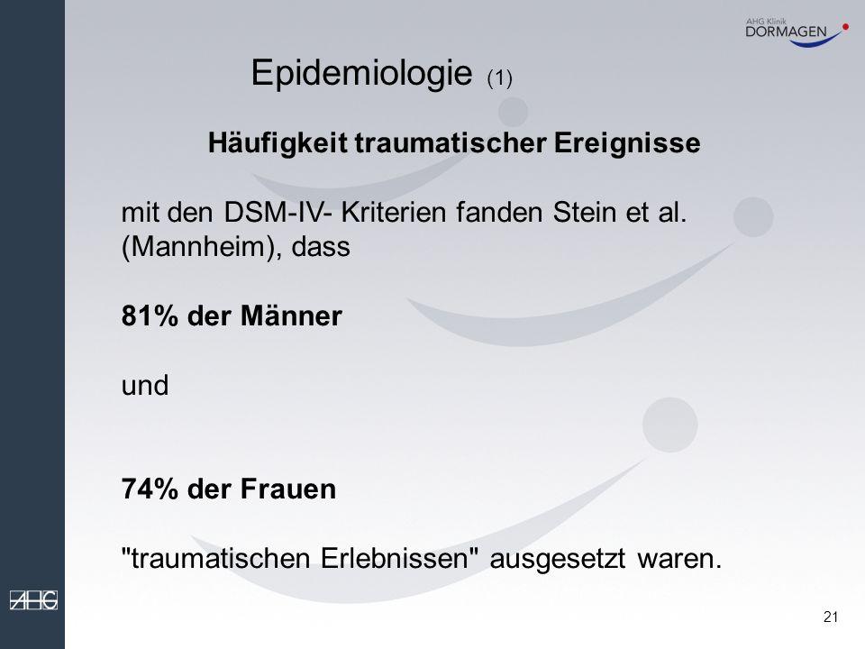 Epidemiologie (1) Häufigkeit traumatischer Ereignisse