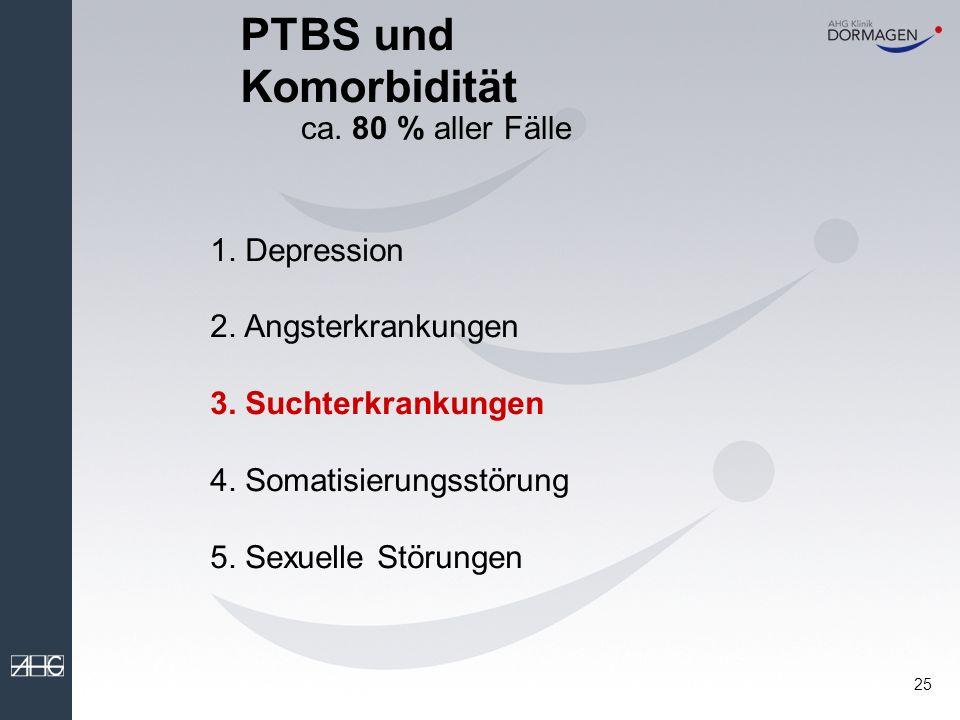 PTBS und Komorbidität ca. 80 % aller Fälle 1. Depression