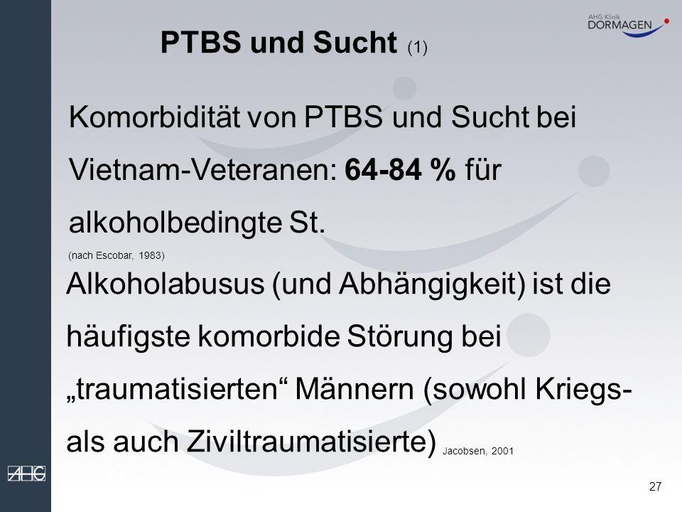 PTBS und Sucht (1) Komorbidität von PTBS und Sucht bei Vietnam-Veteranen: 64-84 % für alkoholbedingte St.