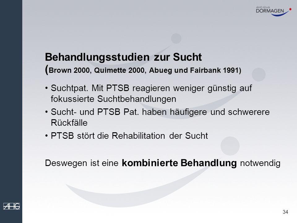Behandlungsstudien zur Sucht (Brown 2000, Quimette 2000, Abueg und Fairbank 1991)