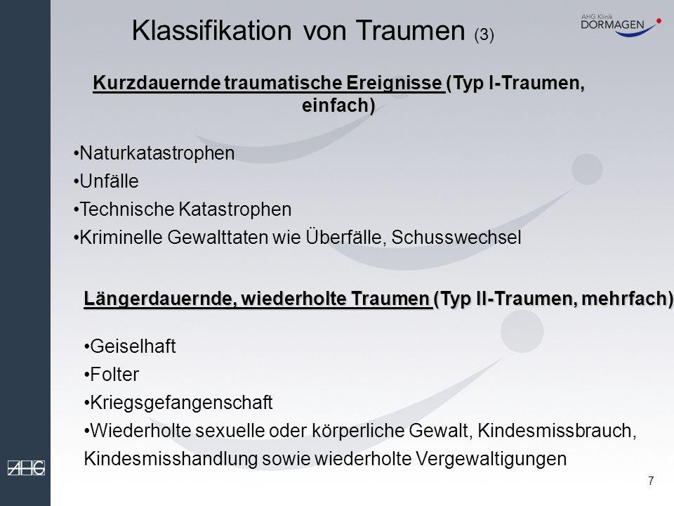 Kurzdauernde traumatische Ereignisse (Typ I-Traumen, einfach)