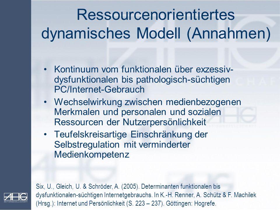 Ressourcenorientiertes dynamisches Modell (Annahmen)
