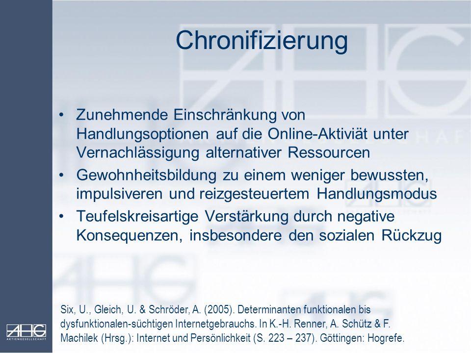 Chronifizierung Zunehmende Einschränkung von Handlungsoptionen auf die Online-Aktiviät unter Vernachlässigung alternativer Ressourcen.