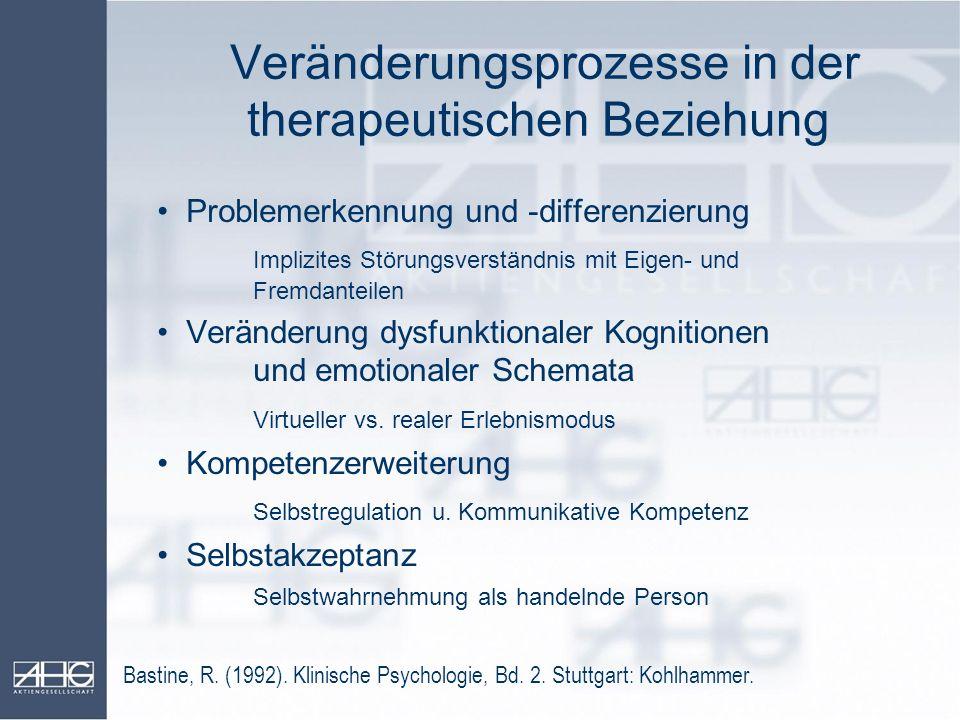 Veränderungsprozesse in der therapeutischen Beziehung