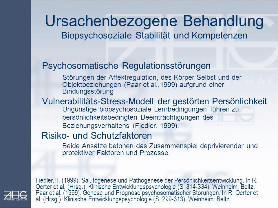 Ursachenbezogene Behandlung Biopsychosoziale Stabilität und Kompetenzen