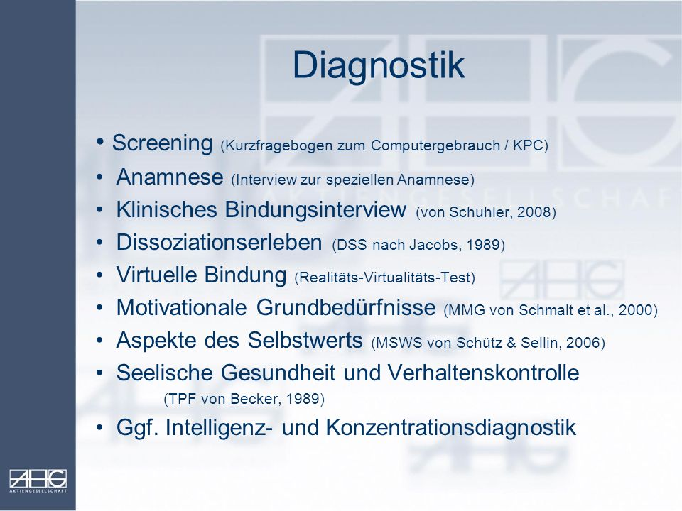 Diagnostik Screening (Kurzfragebogen zum Computergebrauch / KPC)