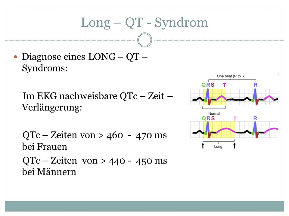 Long – QT - Syndrom Diagnose eines LONG – QT – Syndroms: