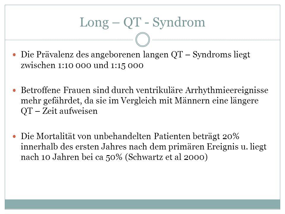 Long – QT - Syndrom Die Prävalenz des angeborenen langen QT – Syndroms liegt zwischen 1:10 000 und 1:15 000.