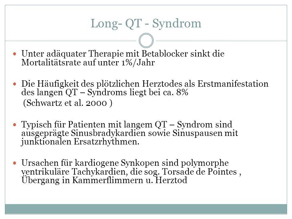 Long- QT - Syndrom Unter adäquater Therapie mit Betablocker sinkt die Mortalitätsrate auf unter 1%/Jahr.