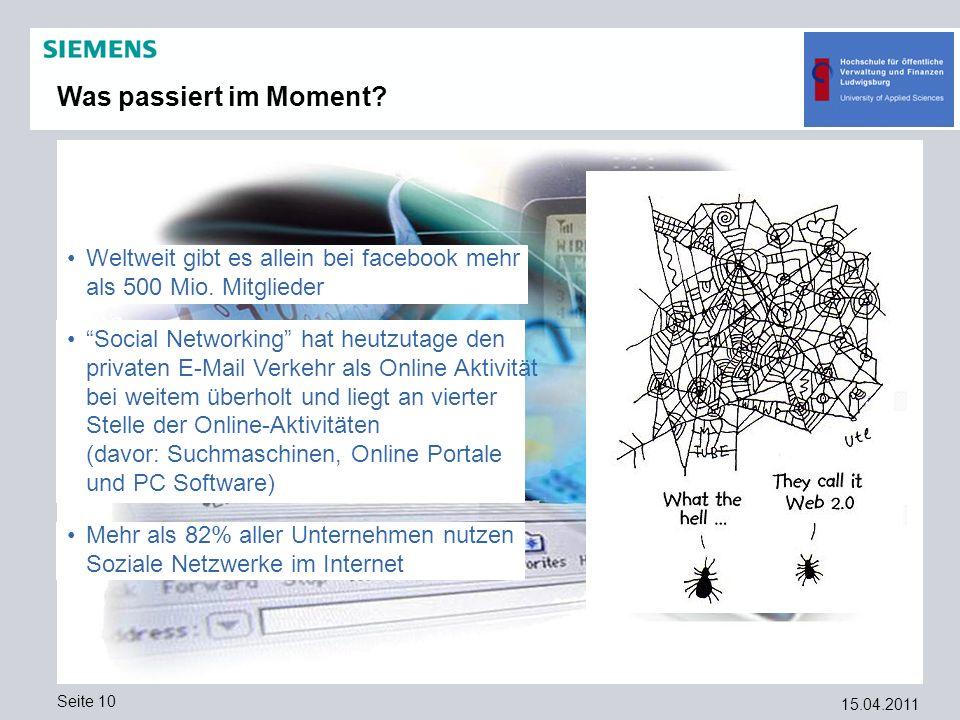 Was passiert im Moment Weltweit gibt es allein bei facebook mehr als 500 Mio. Mitglieder.