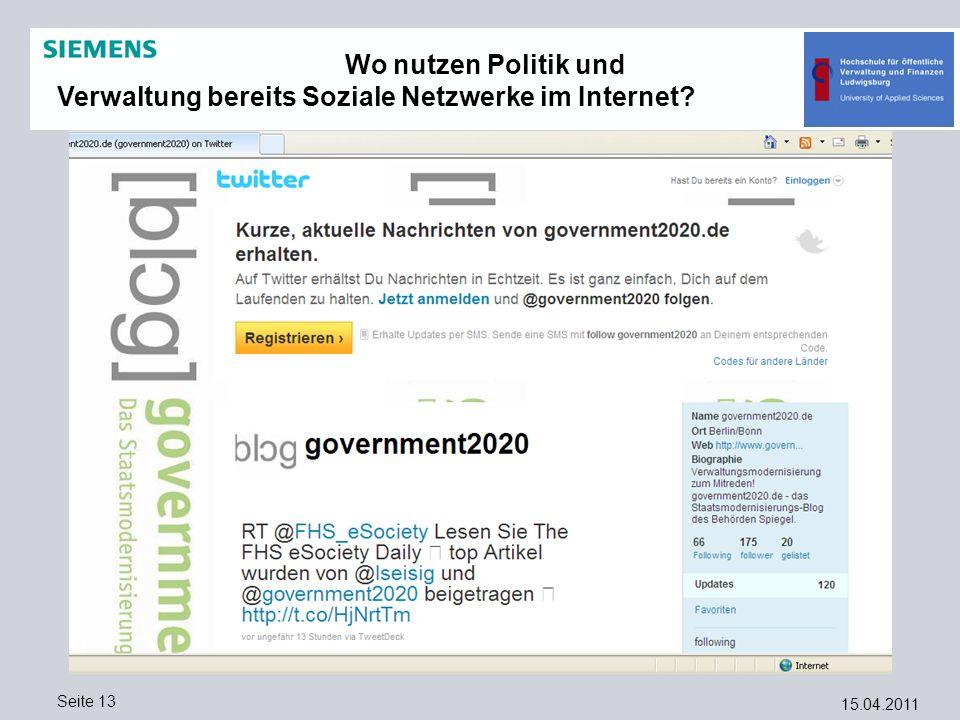 Wo nutzen Politik und Verwaltung bereits Soziale Netzwerke im Internet