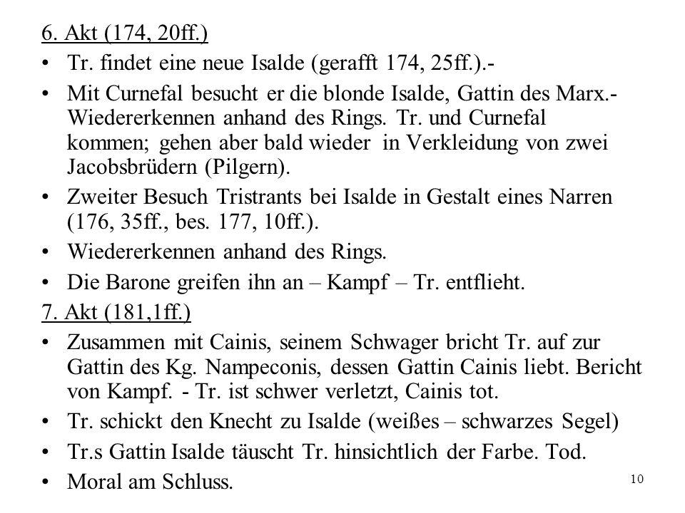 6. Akt (174, 20ff.)Tr. findet eine neue Isalde (gerafft 174, 25ff.).-