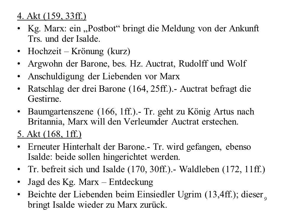 """4. Akt (159, 33ff.)Kg. Marx: ein """"Postbot bringt die Meldung von der Ankunft Trs. und der Isalde. Hochzeit – Krönung (kurz)"""