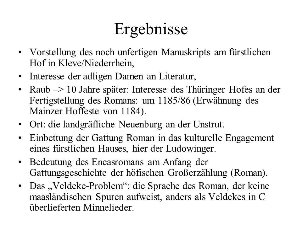 Ergebnisse Vorstellung des noch unfertigen Manuskripts am fürstlichen Hof in Kleve/Niederrhein, Interesse der adligen Damen an Literatur,