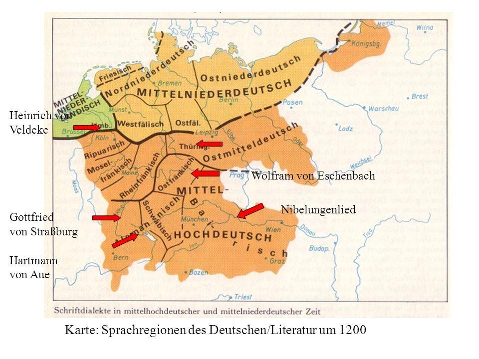 Karte: Sprachregionen des Deutschen/Literatur um 1200