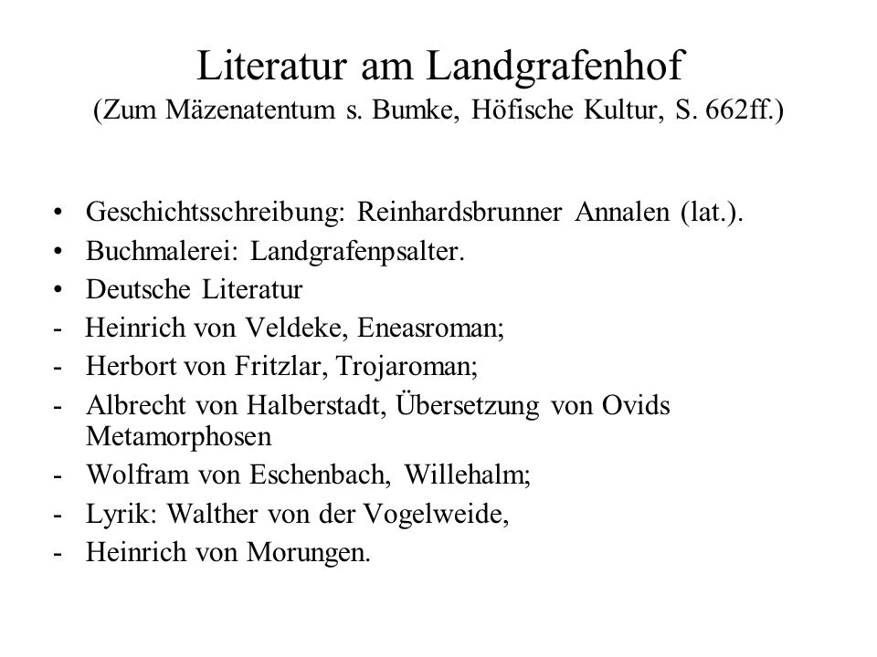Literatur am Landgrafenhof (Zum Mäzenatentum s