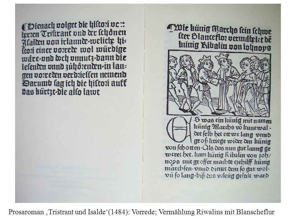 Prosaroman 'Tristrant und Isalde'(1484): Vorrede; Vermählung Riwalins mit Blanscheflur