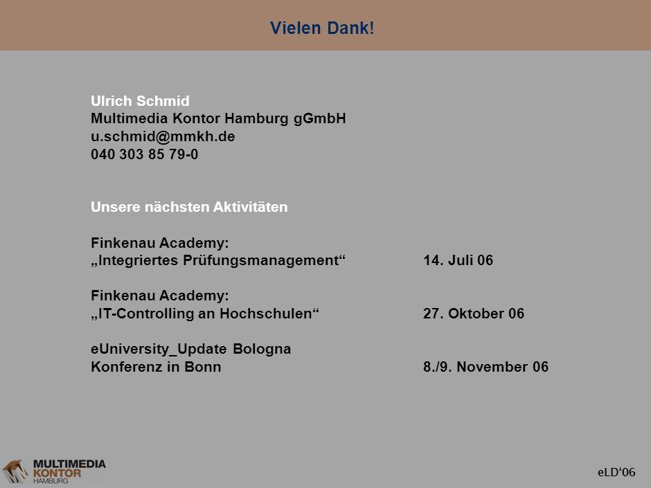 Vielen Dank! Ulrich Schmid Multimedia Kontor Hamburg gGmbH