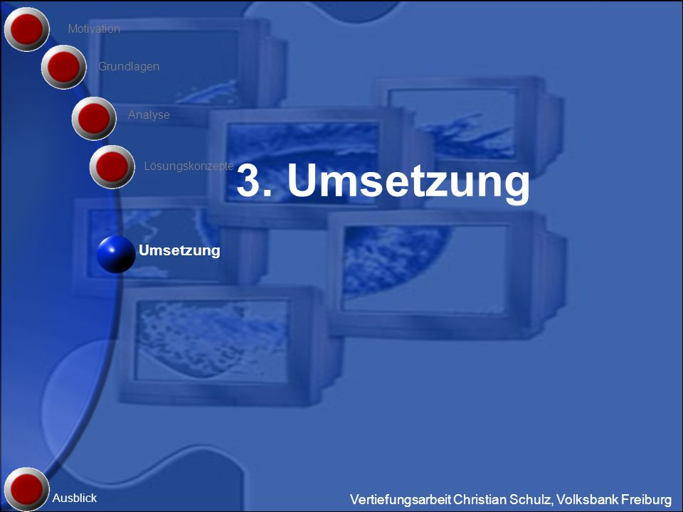 Motivation Grundlagen. Analyse. 3. Umsetzung.