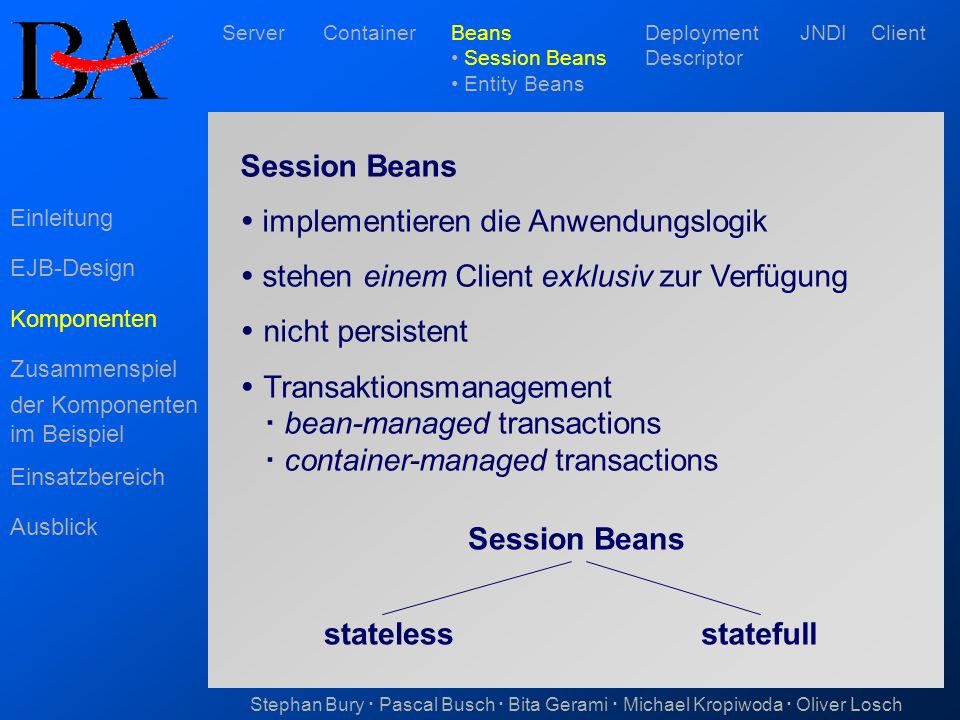 stateless statefull Session Beans