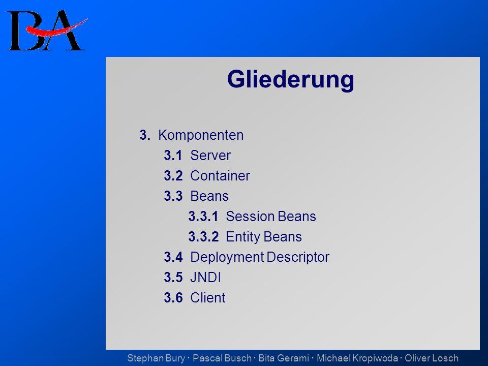 Gliederung 3. Komponenten 3.1 Server 3.2 Container 3.3 Beans