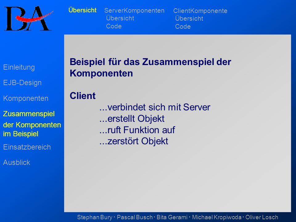 Beispiel für das Zusammenspiel der Komponenten Client