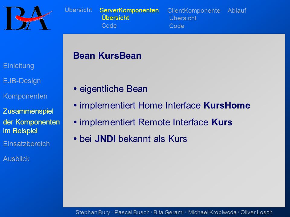  implementiert Home Interface KursHome