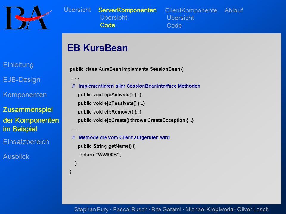 EB KursBean Einleitung EJB-Design Komponenten Zusammenspiel