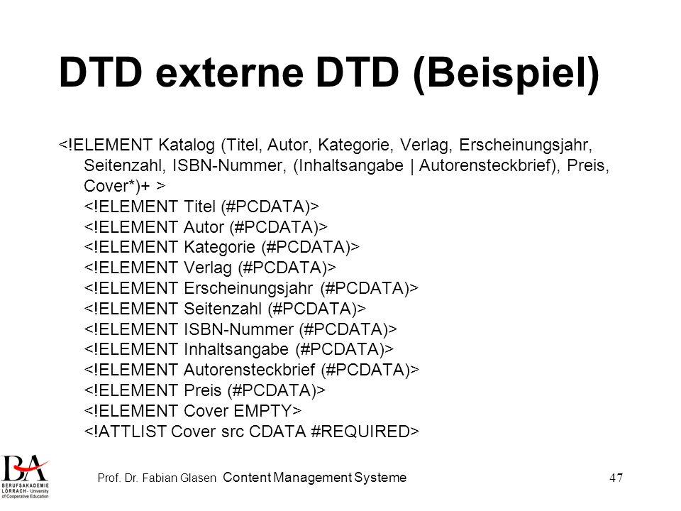 DTD externe DTD (Beispiel)