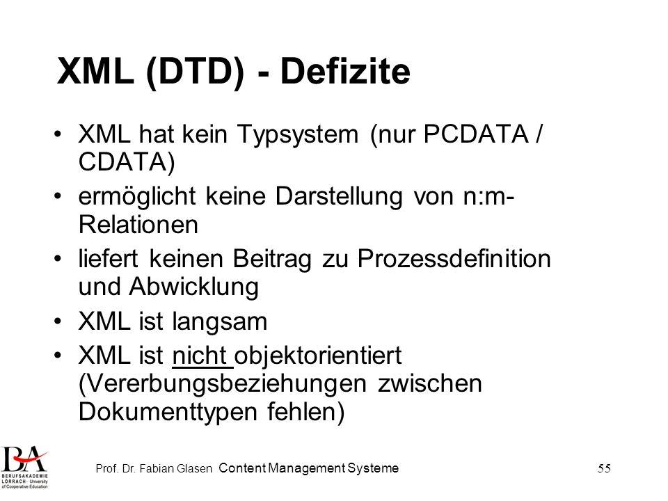 Prof. Dr. Fabian Glasen Content Management Systeme