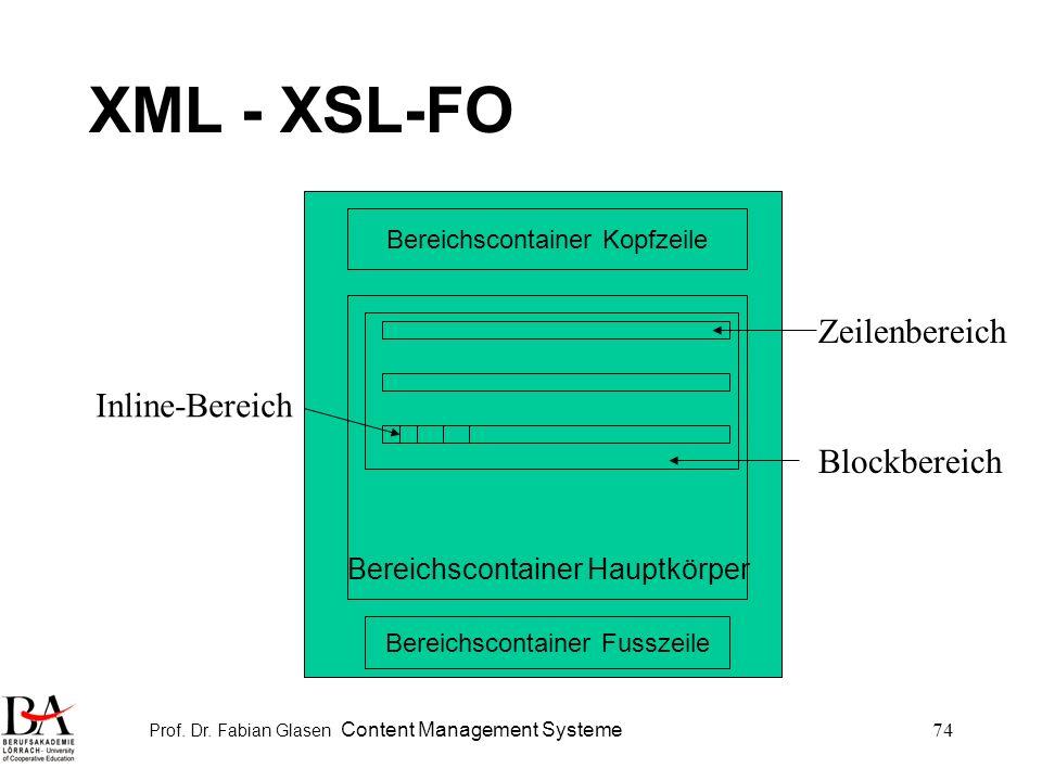 XML - XSL-FO Zeilenbereich Inline-Bereich Blockbereich