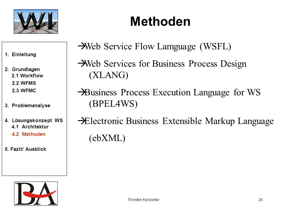 Methoden Web Service Flow Lamguage (WSFL)