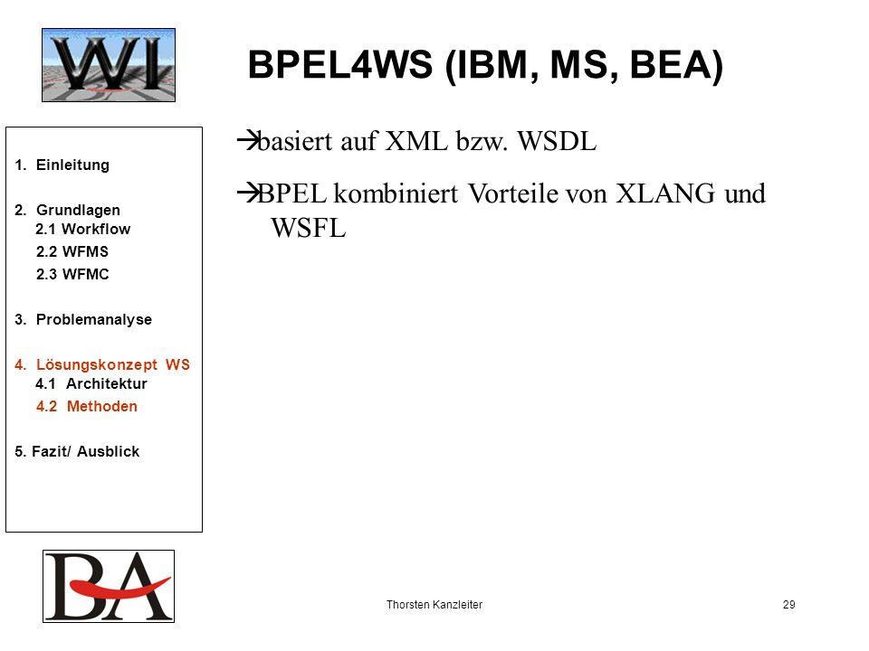 BPEL4WS (IBM, MS, BEA) basiert auf XML bzw. WSDL