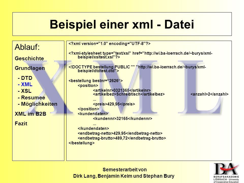 Beispiel einer xml - Datei