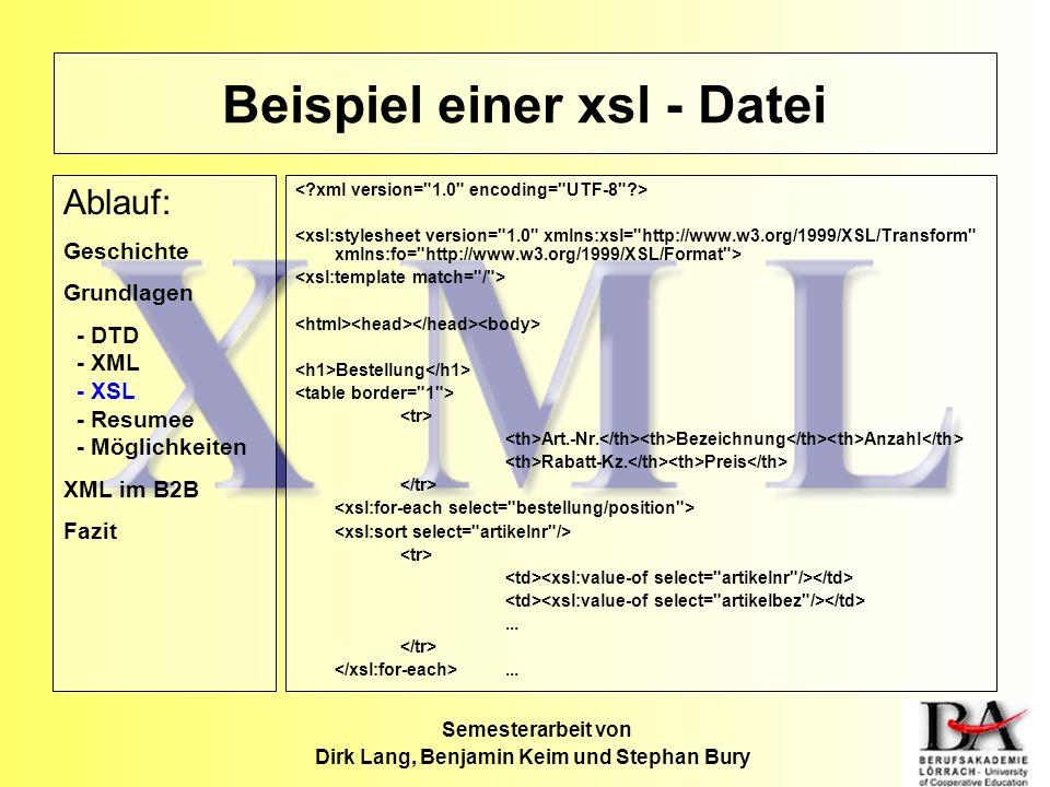 Beispiel einer xsl - Datei
