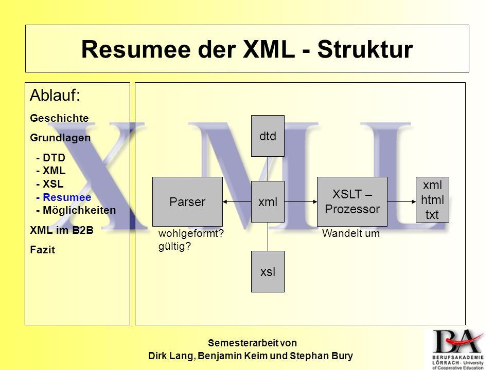 Resumee der XML - Struktur