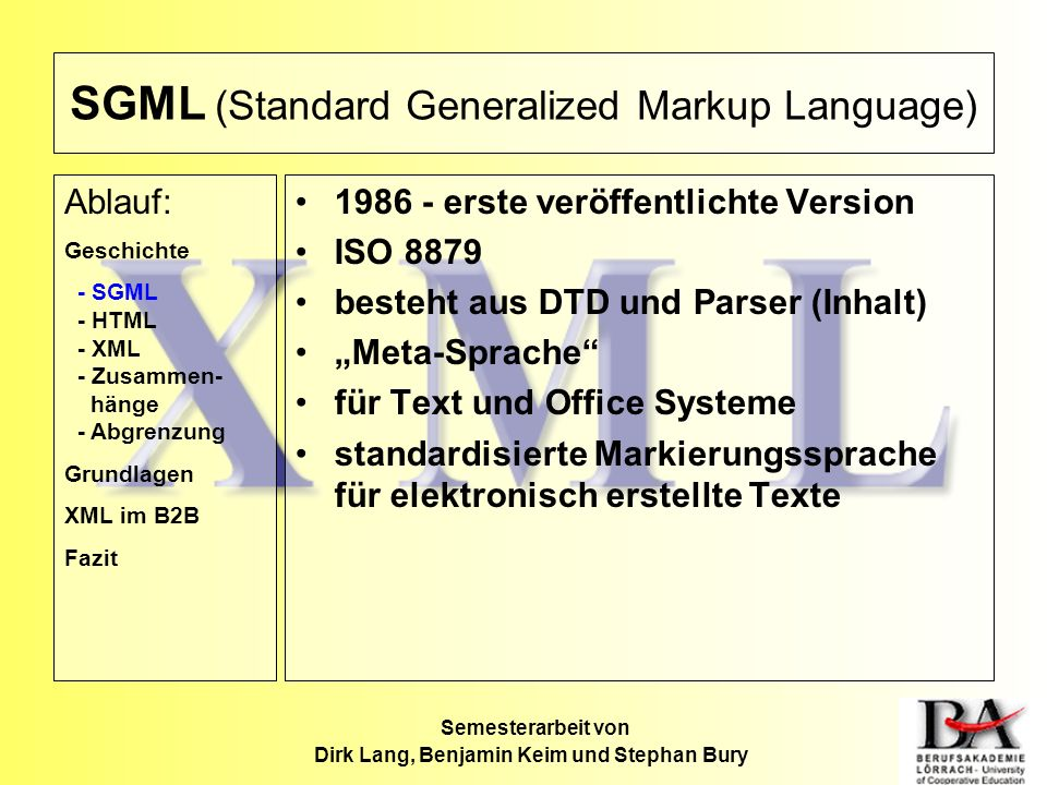 SGML (Standard Generalized Markup Language)
